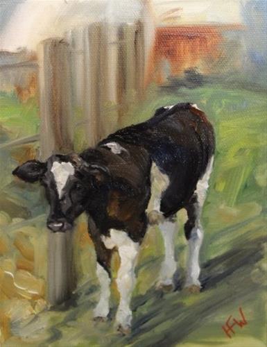 """Holstein Calf"" original fine art by H.F. Wallen"