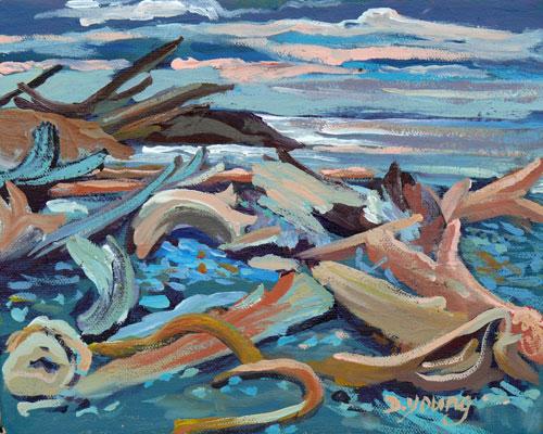 """Drift Wood Tide"" original fine art by Darlene Young"