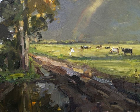 """""""Cows at my favorite spot"""" original fine art by Roos Schuring"""
