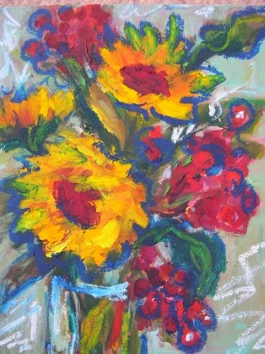 """""""Sunflowers and Berries, Contemporary Floral Paintings by Arizona Artist Amy Whitehouse"""" original fine art by Amy Whitehouse"""