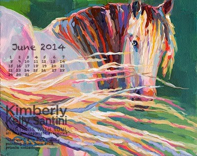 """June Desktop Calendar"" original fine art by Kimberly Santini"