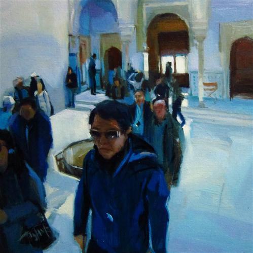 """Tourists at the Alhambra"" original fine art by Víctor Tristante"