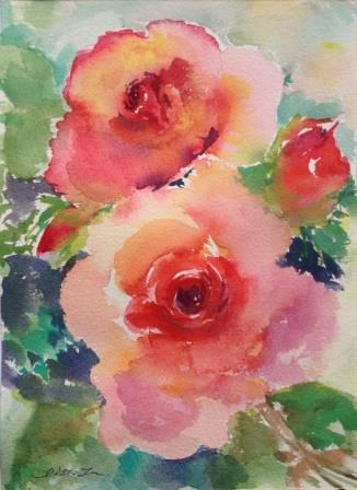 """Love of Roses-2"" original fine art by Lisa Fu"