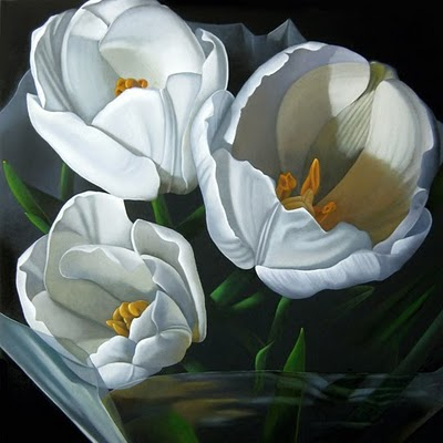 """Wrapped Tulips 24x24"" original fine art by M Collier"