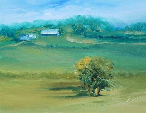 """Peaceful Pasture {Ohio Caverns}_8 x 10 inch_Oil_Landscape"" original fine art by Donna Pierce-Clark"