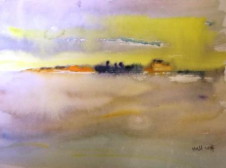 """Horizon City"" original fine art by Nancy Hall"