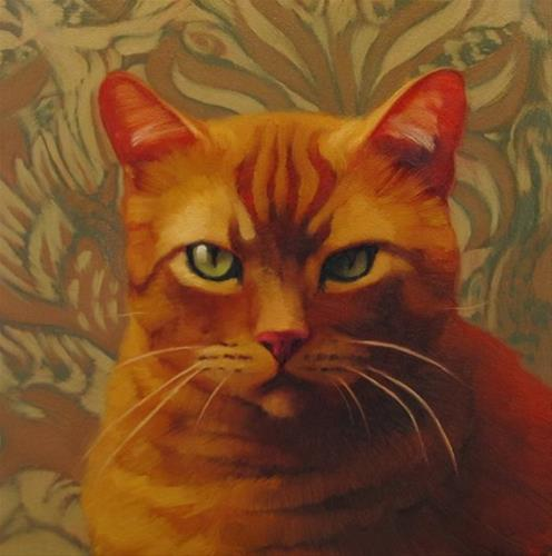 """""""Serious painting of serious cat"""" original fine art by Diane Hoeptner"""