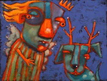"""Petey, The Black Nose Reindog"" original fine art by Brenda York"