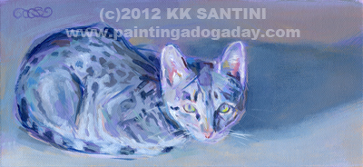 """Blue Sneak"" original fine art by Kimberly Santini"