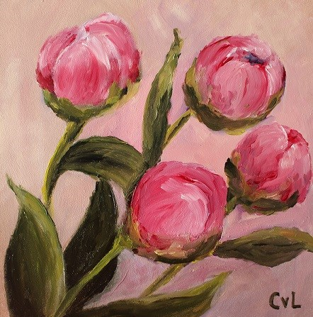 """""""Quattro peonies"""" original fine art by Conny van Leeuwen"""