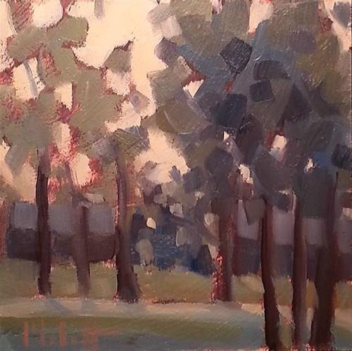"""""""Sunset in the Woods Muted Tones Original Daily Oil Painting"""" original fine art by Heidi Malott"""