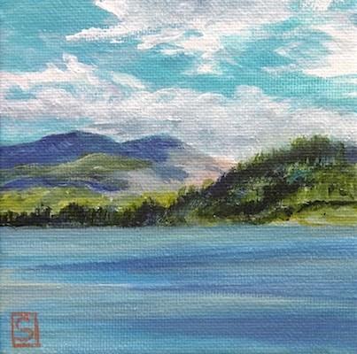 """4195 - Wilderness Lake with Clouds - Mini Master Series"" original fine art by Sea Dean"