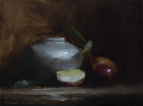 """Small Pot with Apple"" original fine art by Neil Carroll"