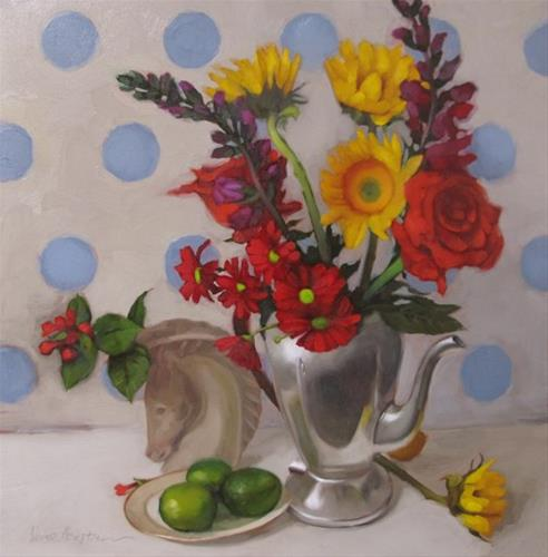 """Deco Still Life before and after fixing a painting"" original fine art by Diane Hoeptner"