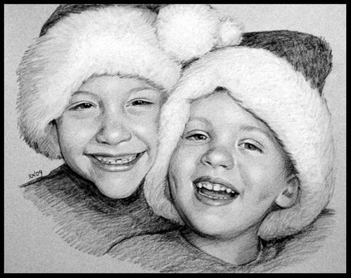 """Christmas Brothers"" original fine art by Rita Kirkman"