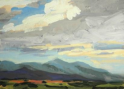 """Los Alamos from Santa Fe"" original fine art by Miriam Hill"