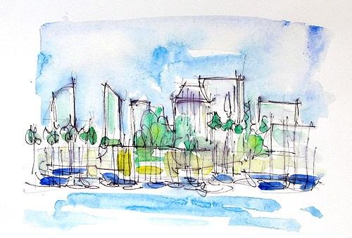 """San Diego Skyline in Watercolor"" original fine art by Kevin Inman"