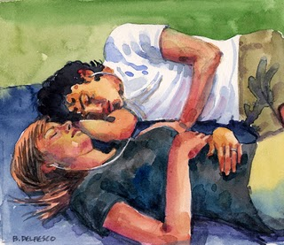 """Watercolor: Nap in the Park"" original fine art by Belinda Del Pesco"