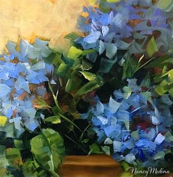 """Blue Swirl Hydrangeas and Spring Workshops by Texas Flower Artist Nancy Medina"" original fine art by Nancy Medina"