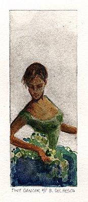 """Dry Point Engraving: Tiny Dancer"" original fine art by Belinda Del Pesco"