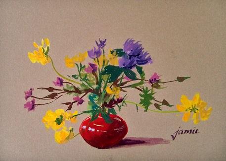 """Little Red Pot of Wildflowers"" original fine art by Jamie Williams Grossman"