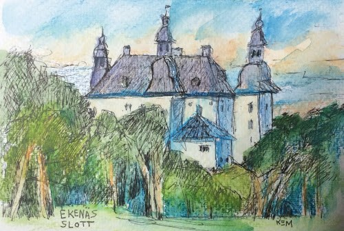 """A Heat Wave and a Castle...My Sweden Adventure Continues"" original fine art by Karen Margulis"
