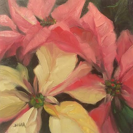 """Poinsettias"" original fine art by Elaine Juska Joseph"