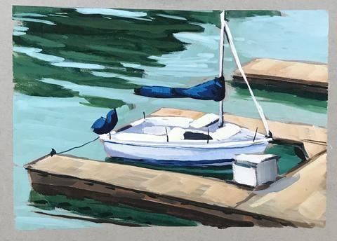 """""""Plein Air Sailboat"""" original fine art by Sharon Schock"""