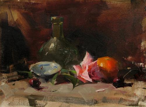 """Rosy Orange and Blue"" original fine art by Qiang Huang"