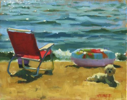 """Beach buddy"" original fine art by Kathy Weber"