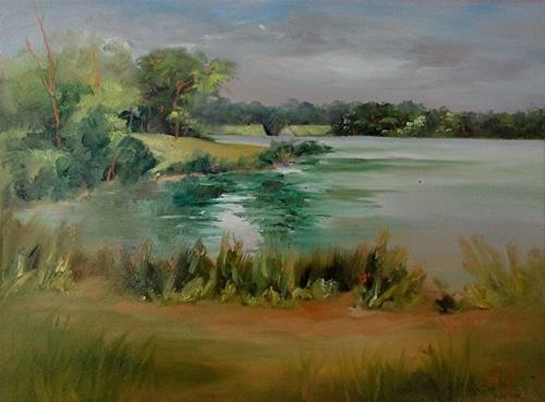 """Early Morning, Beyond the Spillway! 9 x 12 Oil, Landscape"" original fine art by Donna Pierce-Clark"