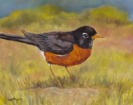 """Spring Robin"" original fine art by Charlotte Yealey"
