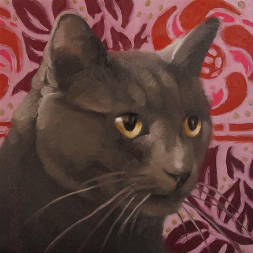 """""""Catnip Thug small oil painting gray cat on pink"""" original fine art by Diane Hoeptner"""