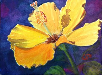 """""""Day 13 - Yellow Hibiscus"""" original fine art by Lyn Gill"""