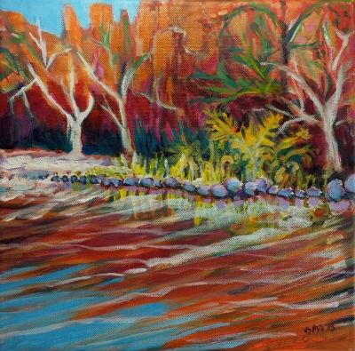 """""""Sedona Oak Creek 3.2"""" original fine art by Pam Van Londen"""