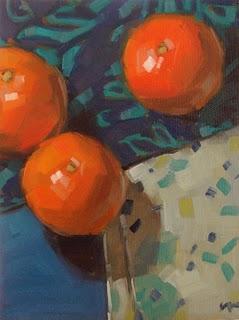 """Three Oranges --- SOLD"" original fine art by Carol Marine"