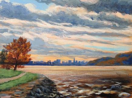 """Clouds Over the NYC Skyline"" original fine art by Jamie Williams Grossman"