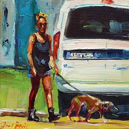 """""""Mit dem Hund"""" original fine art by Jurij Frey"""