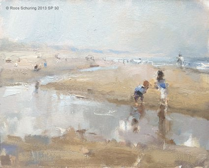"""Seascape spring 30 Paddling"" original fine art by Roos Schuring"