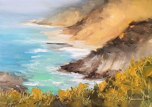 """Big Sur Sea Mist, 5 x 7 Oil, Seascape"" original fine art by Donna Pierce-Clark"