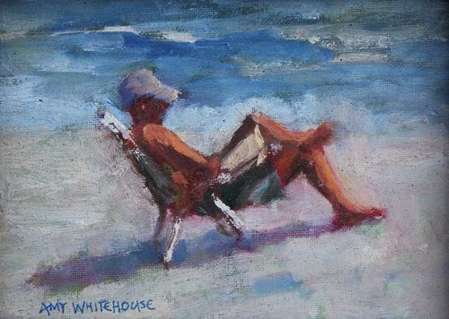 """""""Beach Read, Contemporary Figure Paintings by Amy Whitehouse"""" original fine art by Amy Whitehouse"""