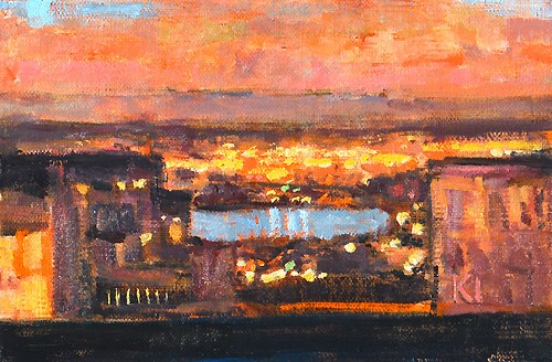 """City Lights"" original fine art by Kevin Inman"