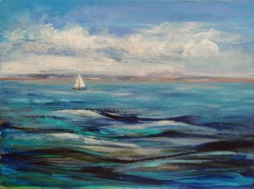 """3171 - Sailing Home - Windpower Series"" original fine art by Sea Dean"