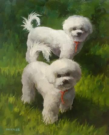 """Little Fuzzy Puppies"" original fine art by Michael Naples"
