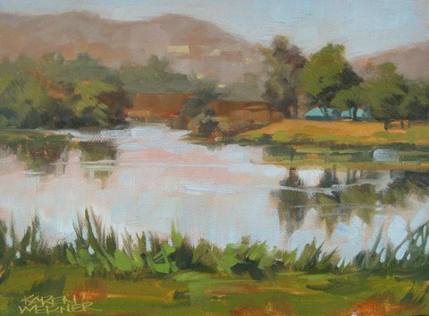 """Prado Pond Field Study"" original fine art by Karen Werner"