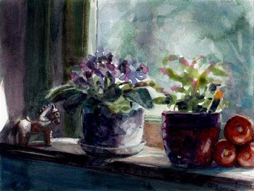 """Watercolor: Pony Express Tomatoes (& Art Supply Give Away!)"" original fine art by Belinda Del Pesco"
