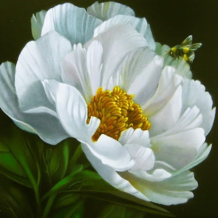 """""""Bee With Peony 6x6"""" original fine art by M Collier"""