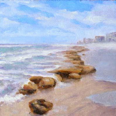 """Beach Rocks, 6x6"" original fine art by Carmen Beecher"