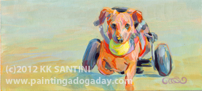 """Go, Dog, Go (Jack), A Gratitude Painting"" original fine art by Kimberly Santini"