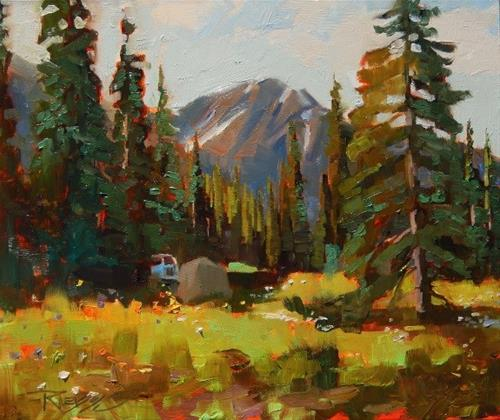 """Lake Irwin Camp Crested Butte, plein air, landscape painting by Robin Weiss"" original fine art by Robin Weiss"